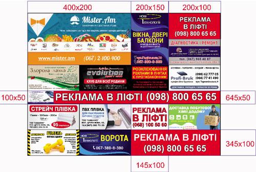Рекламные блоки на лифтборде